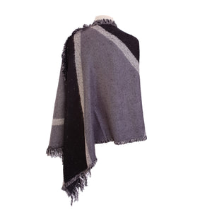 Black & Grey Colour block Wool look poncho - Dammit Janet