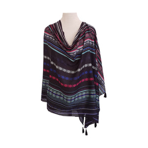 Black & Multi-colour Yarn-dye stitch design poncho - Dammit Janet