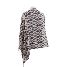 Load image into Gallery viewer, Black & White Ethnic Jacquard poncho - Dammit Janet