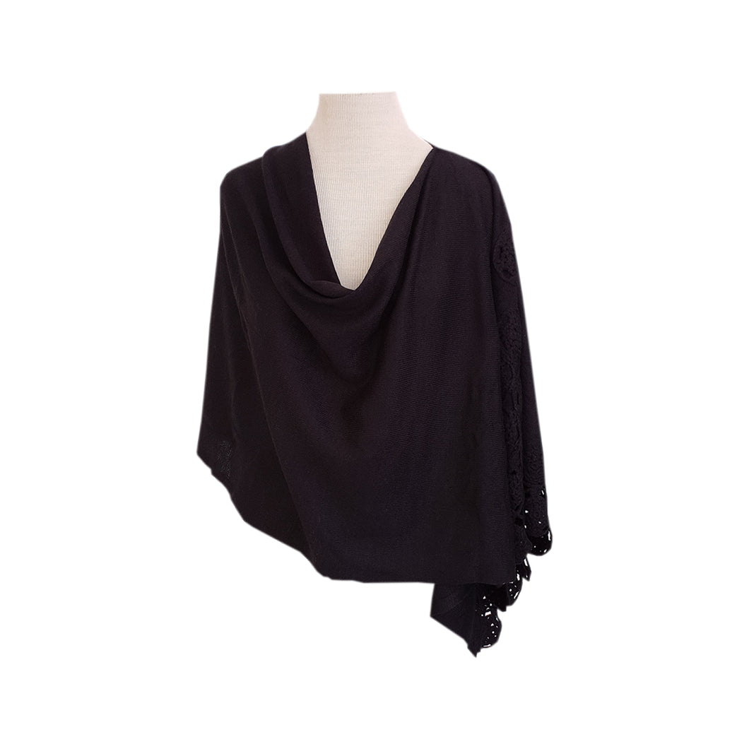 Black (crochet trim) poncho - Dammit Janet