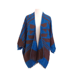 Blue & Brown Ethnic Wool look kimono - Dammit Janet