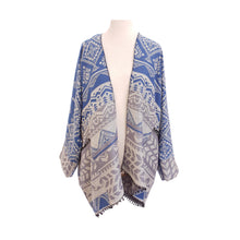 Load image into Gallery viewer, Blue & Grey Ethnic Stripe kimono - Dammit Janet