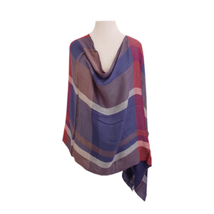 Navy & Burgundy Check poncho - Dammit Janet