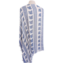 Load image into Gallery viewer, Blue & White Elephant Print Poncho - Dammit Janet