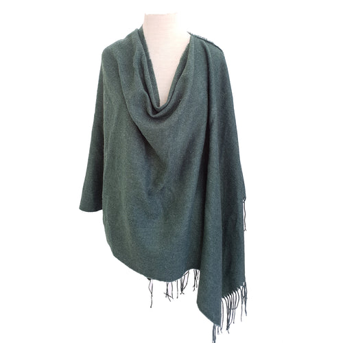 Bottle Green Wool look poncho - Dammit Janet