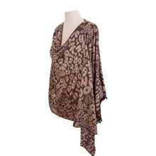 Load image into Gallery viewer, Brown & Beige Leopard Print Jacquard poncho - Dammit Janet