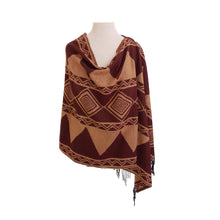 Load image into Gallery viewer, Brown & Caramel Ethnic Jacquard poncho - Dammit Janet