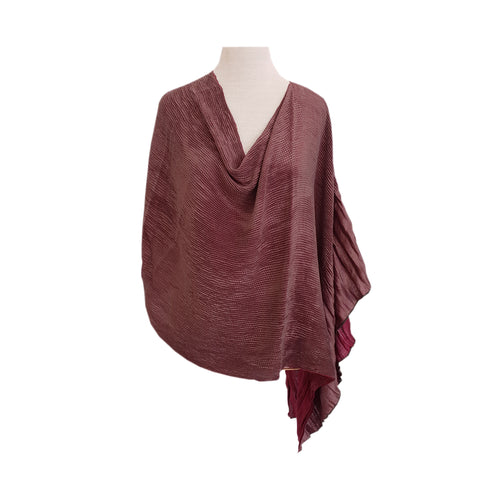 Burgundy/Brown Pleat (reversible) poncho - Dammit Janet