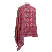 Load image into Gallery viewer, Burgundy & Peach Geometric Print poncho - Dammit Janet