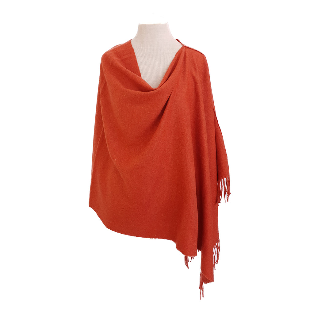 Burnt Orange Wool look poncho - Dammit Janet