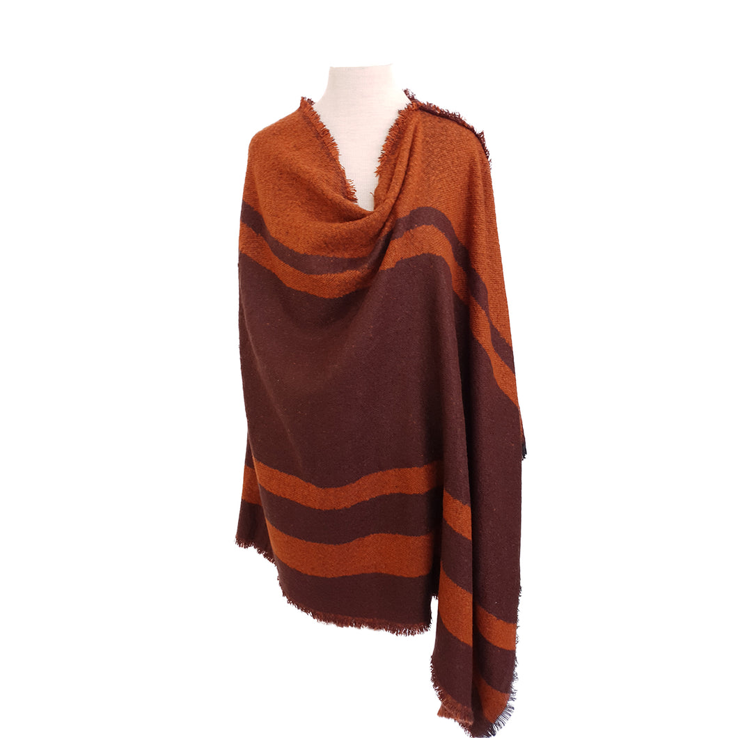 Burnt Orange & Brown Yarn-dye Stripe poncho - Dammit Janet