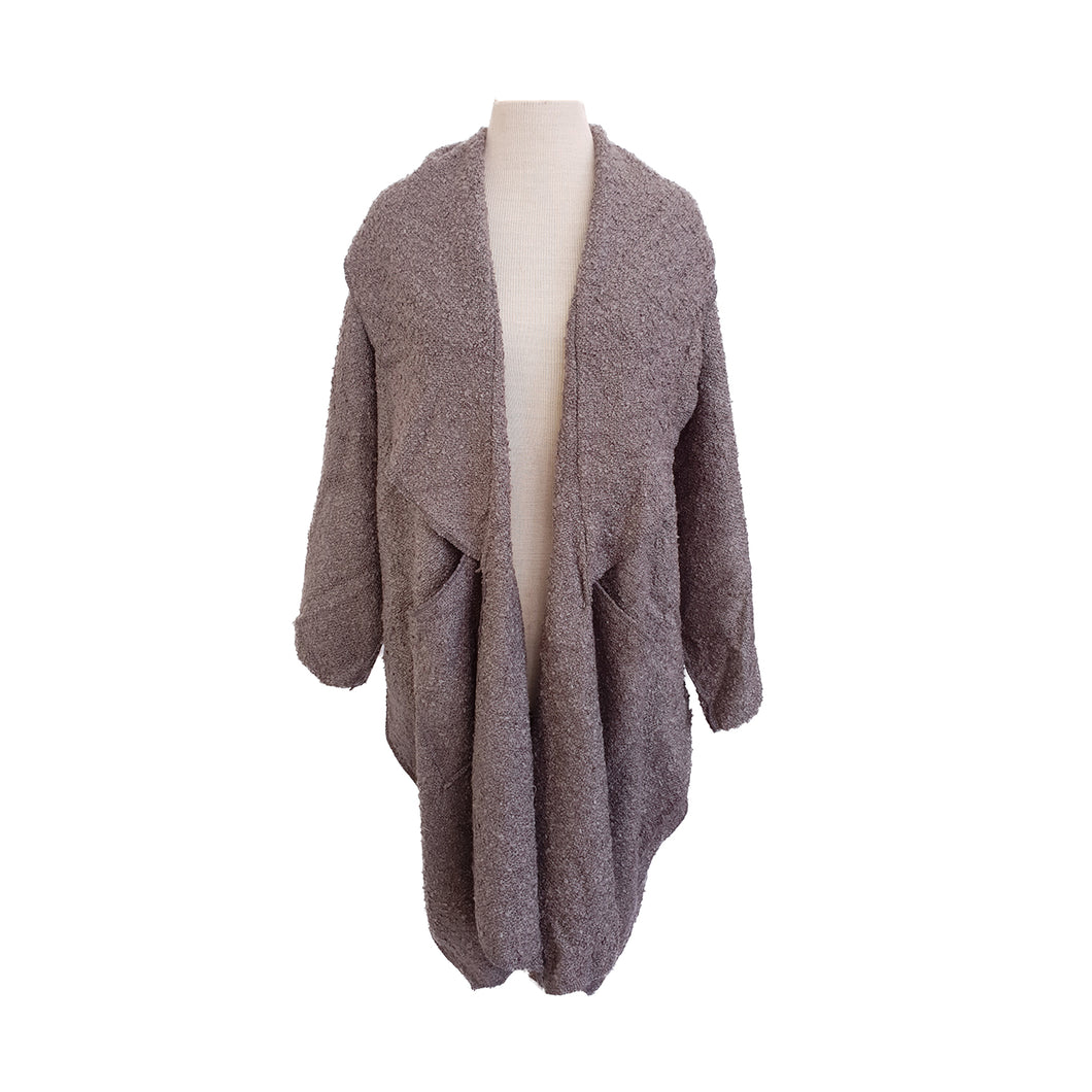 Dark Grey Boucle Wool look kimono - Dammit Janet