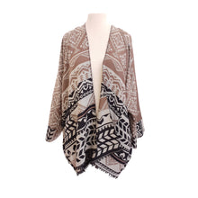 Load image into Gallery viewer, Taupe, Cream & Black Ethnic Stripe kimono - Dammit Janet