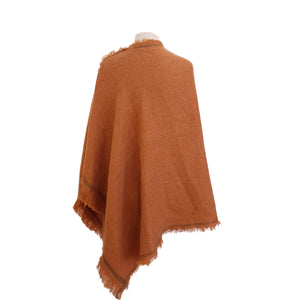Ginger with Bottle Green stitch-edge poncho - Dammit Janet