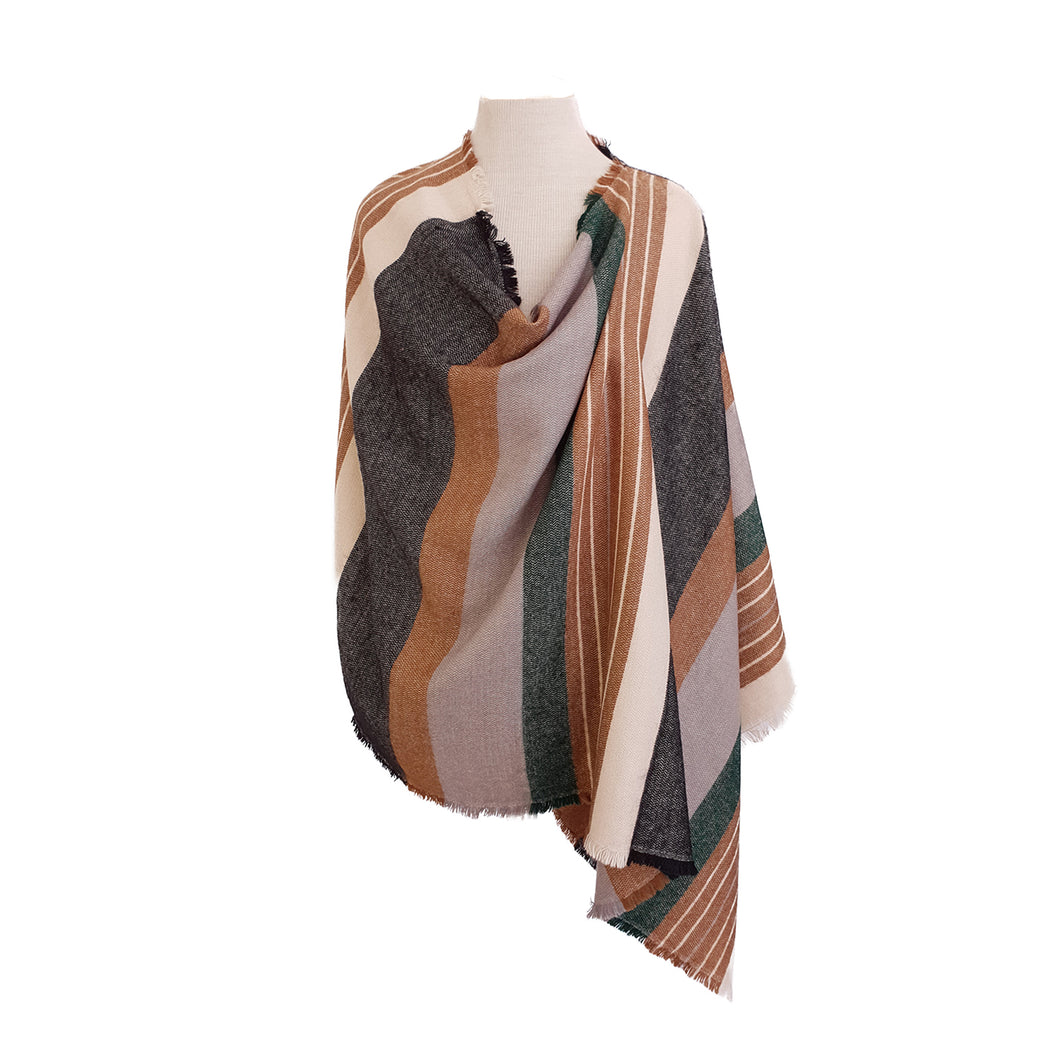 Gold, Black, Grey & Green Stripe poncho - Dammit Janet