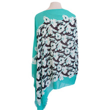 Load image into Gallery viewer, Turquoise Green & Black Poppy Poncho - Dammit Janet