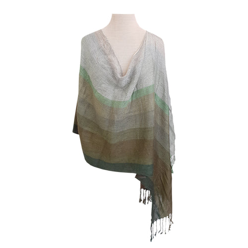 Green Graded Pleated Stripe poncho - Dammit Janet