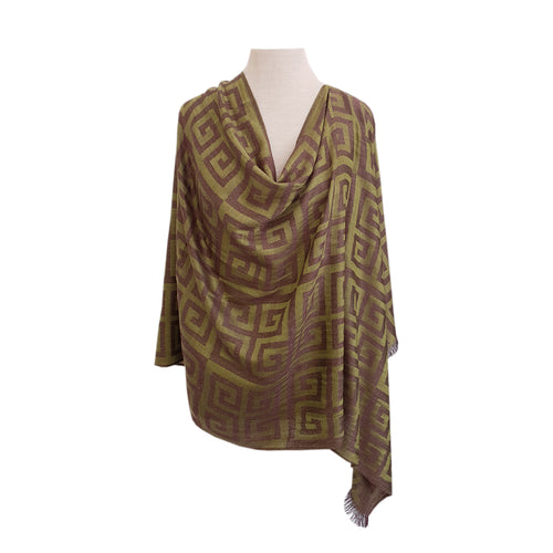 Green & Chocolate Geometric Jacquard poncho - Dammit Janet