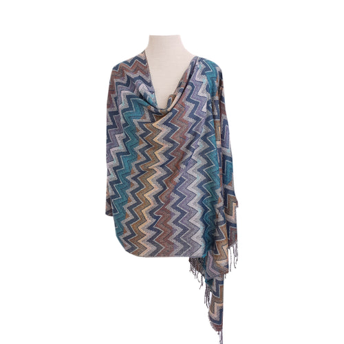 Multi-colour Chevron Pattern poncho - Dammit Janet