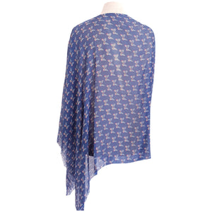 Petrol Blue with Pink Butterflies Poncho - Dammit Janet