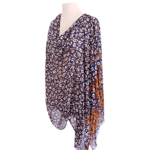 Navy & Rust Floral Poncho - Dammit Janet