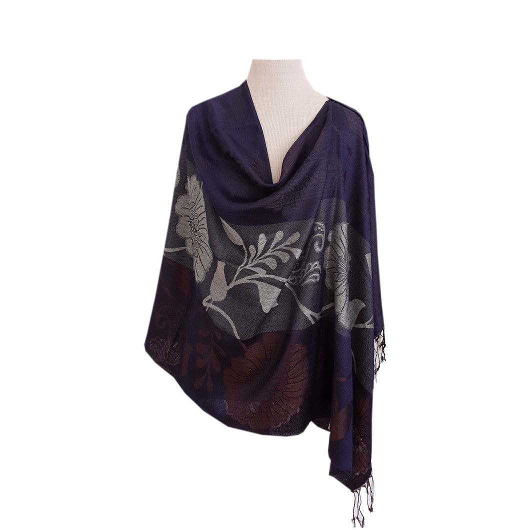 Navy, Cream & Brown Floral Paisley Jacquard poncho - Dammit Janet