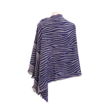 Load image into Gallery viewer, Navy & Grey Leopard Print/Zebra Stripe Jacquard poncho - Dammit Janet