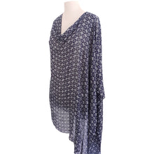 Load image into Gallery viewer, Navy & White Geometric Floral Poncho - Dammit Janet