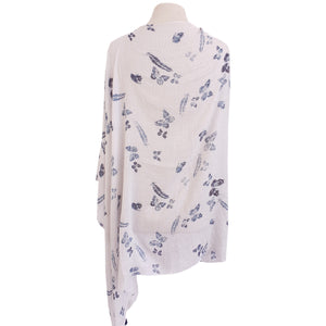 Navy & White Butterfly/Feather Stripe Poncho - Dammit Janet