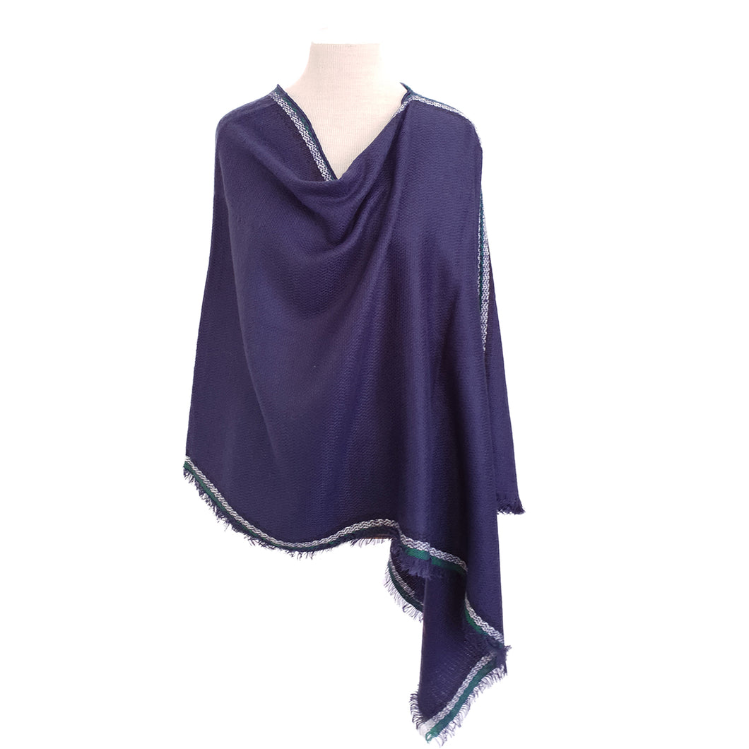 Navy with White & Emerald Stripe Edge poncho - Dammit Janet
