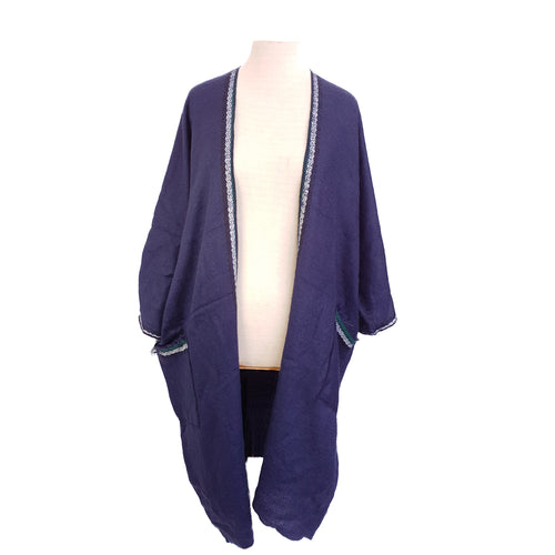 Navy with White & Green stitch-edge kimono - Dammit Janet