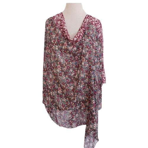 Olive & Burgundy Liberty Floral Poncho - Dammit Janet