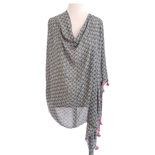 Olive & White Geometric Floral Poncho - Dammit Janet