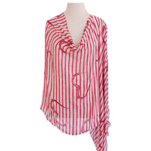 Load image into Gallery viewer, Pink & Cream Heart Stripe Poncho - Dammit Janet
