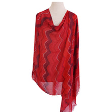 Load image into Gallery viewer, Red & Maroon Wavy Stripe Poncho - Dammit Janet