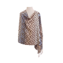 Load image into Gallery viewer, Sky Blue, Blue & Cream Ethnic Jacquard poncho - Dammit Janet