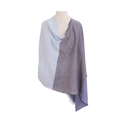 Variegated Blue & Cream Diagonal Stripe poncho - Dammit Janet