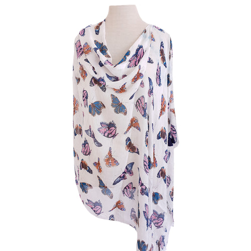 White, Blue & Pink Butterfly Poncho - Dammit Janet