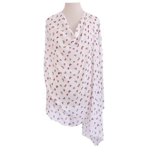 White with Pink Butterflies Poncho - Dammit Janet