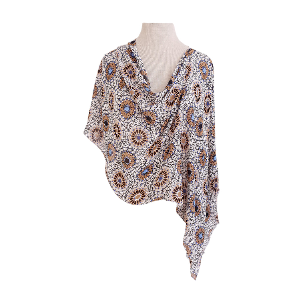 White, Yellow & Blue Mandala Poncho - Dammit Janet