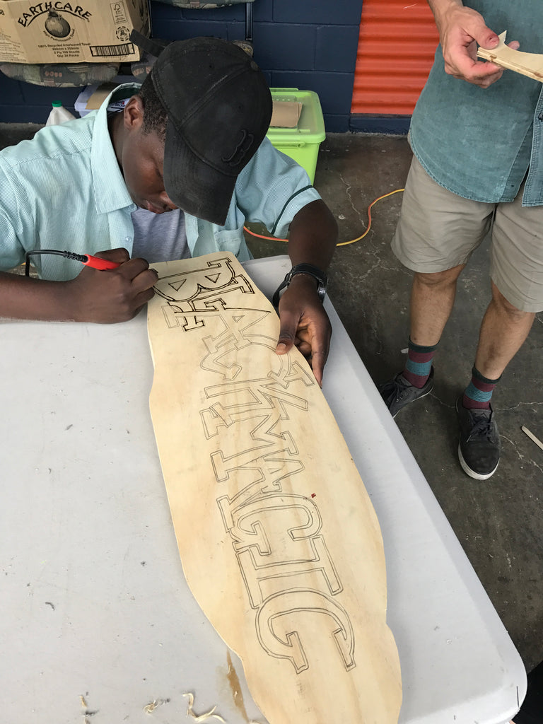 Custom skateboard artwork workshop