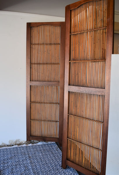 Vintage 3 Panel Mahogany & Bamboo Screen