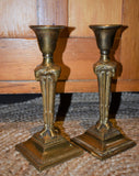 Vintage Brass Ram Set of Candlesticks