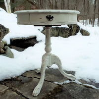 Vintage Chalk Painted Pedestal Table