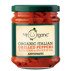 Mr Organic Italian Grilled Red Peppers Antipasti 190g