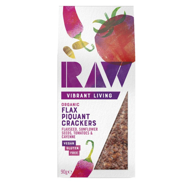 Raw Organic Flax Piquant Crackers (90g)