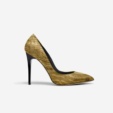 GOLD ALLIGATOR POINT TOE STILETTO PUMP