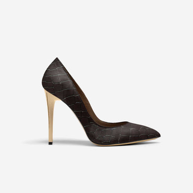 BROWN ALLIGATOR POINT TOE STILETTO PUMP