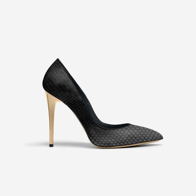 BLACK PYTHON POINT TOE STILETTO PUMP