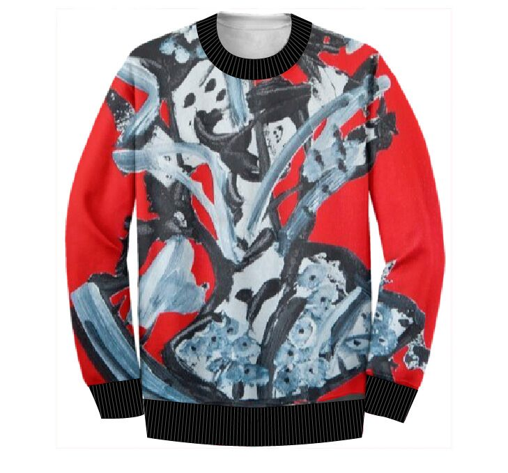 RED ABSTRACT SWEATSHIRT